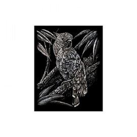 Kraskaart 20,3x25,4cm zilver Kakatoes