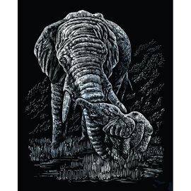 Kraskaart 20,3x25,4cm zilver olifant+baby