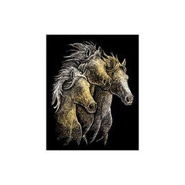 Kraskaart 20,3x25,4cm goud Paarden