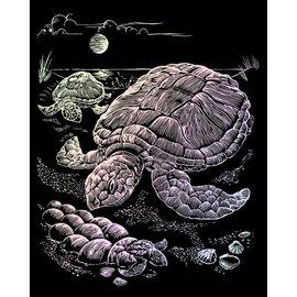 Kraskaart 20,3x25,4cm holographic zeeschildpad