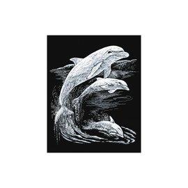 Kraskaart 20,3x25,4cm zilver Dolfijnen