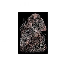 Kraskaart mini  12,5x17,5cm koper Jonge katten en honden