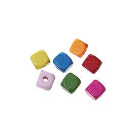 Houten kralen kubus 1cm x 1cm (190 st)