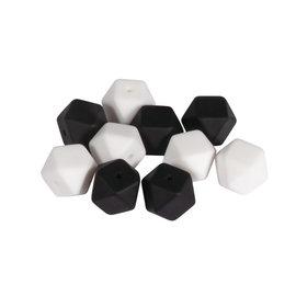 Rayher Silicone kralen hexagon 14mm zwart-wit