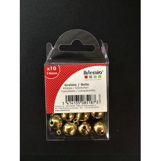 Belletjes goudkleur, 14mm, 10st.