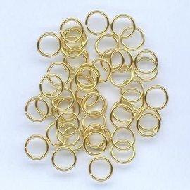Split ring gehard goudkleur 6 mm 50 ST