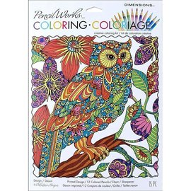 Coloring Coloriage - FLOWERING OWL 23x30cm