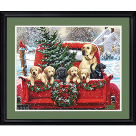 Painting by numbers - Holiday Puppy Truck - 51x41 cm