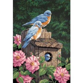 Painting by numbers - GARDEN BLUEBIRDS - 41x51 cm