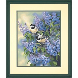 Painting by numbers - CHICKADEES & LILACS - 28x36 cm