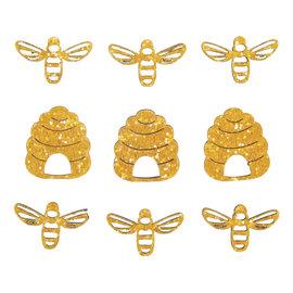Rayher Houten bijen en bijenkorf zelfklevend 3cm 9st.