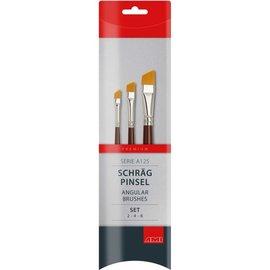 AMI Schuine penseel-synthetisch A125. Set 3 st.