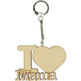 """Houten sleutelhanger """"I LOVE MAMA"""""""