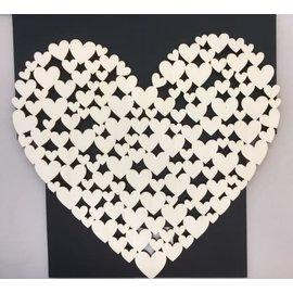 Houten hart met hartjes 27,5x25x0.5cm