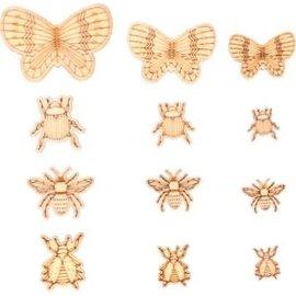 Houten mini insecten 33st.