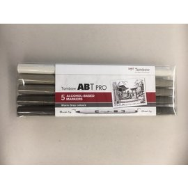 Tombow ABT Pro 5 alcohol-based markers warm grey colours