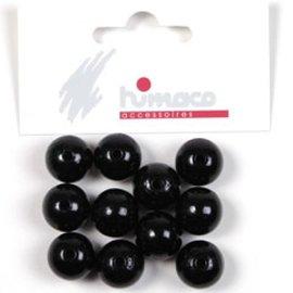 Houten bol 14mm zwart 20st
