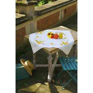 Bedrukt tafelkleed zonnebloemen 80x80cm