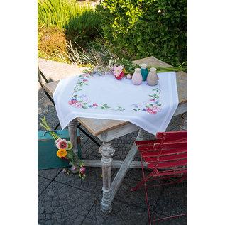 Bedrukt tafelkleed kit Bloemen met vlinders ca.80x80cm