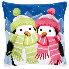 Vervaco Kruissteekkussen kit Pinguins met sjaal