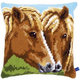 Vervaco Kruissteekkussen kit Bruine paarden