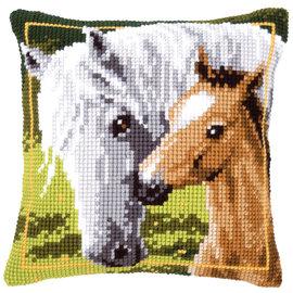 Vervaco Kruissteekkussen kit Wit paard met veulen