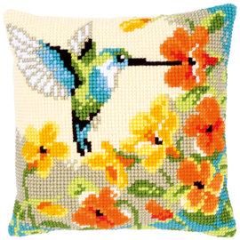 Vervaco Kruissteekkussen kit Kolibri met bloemen