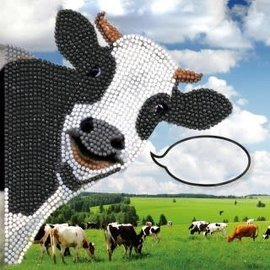 Diamond Painting - Crystal Card Kit Funny Cow 18x18 (partial)