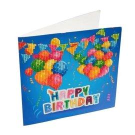 Diamond Painting- Crystal Card Kit Diamond Painting Happy Birthday 18x18cm