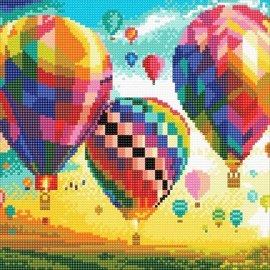 Diamond Painting - Crystal Art Kit Hot Air Balloons 30x30cm full square
