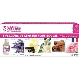 """Graine Creative Lot van 5 flesjes geur voor kaarsen """"bloemen & kruiden"""""""