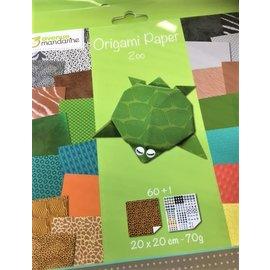 Avenue Mandarine Origami papier ZOO, 20x20cm