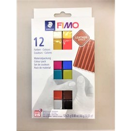 Fimo FIMO Leather Colour Pack 12x25g, 12 Kleuren