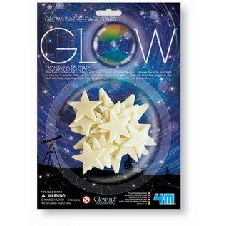 16 Glow-in the dark sterren 3 maten 110,80,50mm