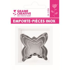 Mini inox uitsteekvormen - Vlinders (3 st)