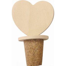 Flesdop kurk met hartvorm  50x30x80mm