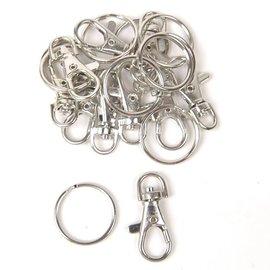 10 musketon & 10 ringen voor sleutelhangers