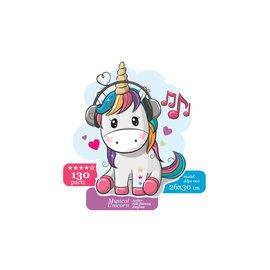 Houten Puzzel Musical unicorn 26x30cm