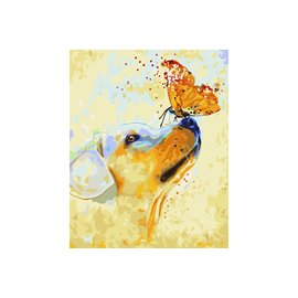 Painting by number - Puppy and Butterfly 40x50cm