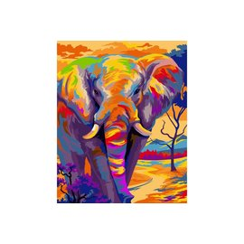 Painting by numbers - Colourful Elephant 40x50cm