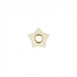 Nestels op wit Skai-leer ster 10mm 4st.