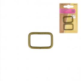 Rechthoeklussen voor tassen 25mm brons 2st.