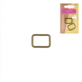 Rechthoeklussen voor tassen 20mm brons 2st.