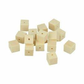 Houten parels kubus 10x10mm, 30st