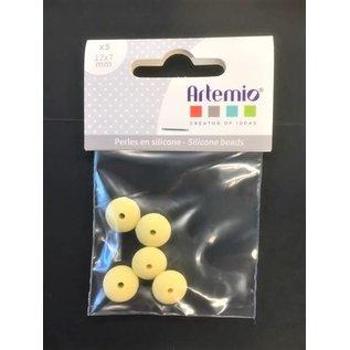 5 Siliconeparels UFO 12x7mm geel