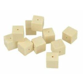 Houten parels vierkant 15x15mm 20st