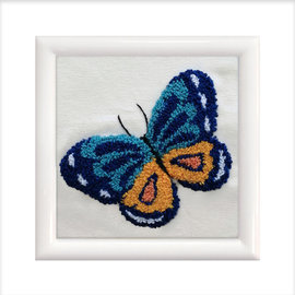Small Punch met frame wit Blue Butterfly