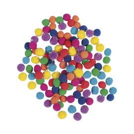 Rayher Pompom mix, 7mm ø, regenboog, 120 stuks
