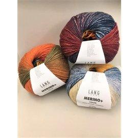 Lang Yarns MERINO + Color 0201 oker-blauw-kaki bad 4627