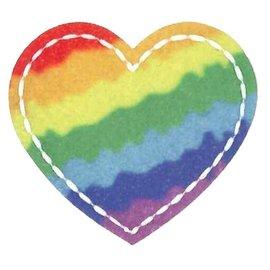 Applicatie Rainbow Heart ca. 6x5,5cm